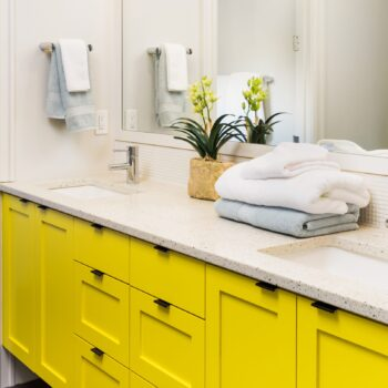 Gilmans Kitchens and Baths Shutter Stock Yellow Vanity
