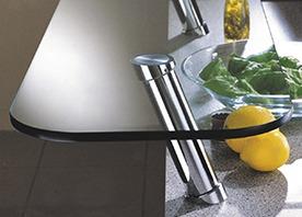 Accessories & Plumbing Fixtures with Glass Countertop