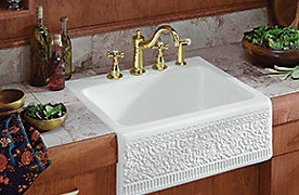 Gold Faucet and Granite Sink