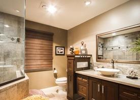 Dark Bathroom Cabinets and Light Granite
