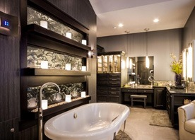 Gilmans Kitchens and Baths Black Bath Cabinets and White Tub